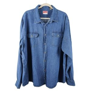 Wrangler Men's Cotton Denim Button Up Shirt 3XL